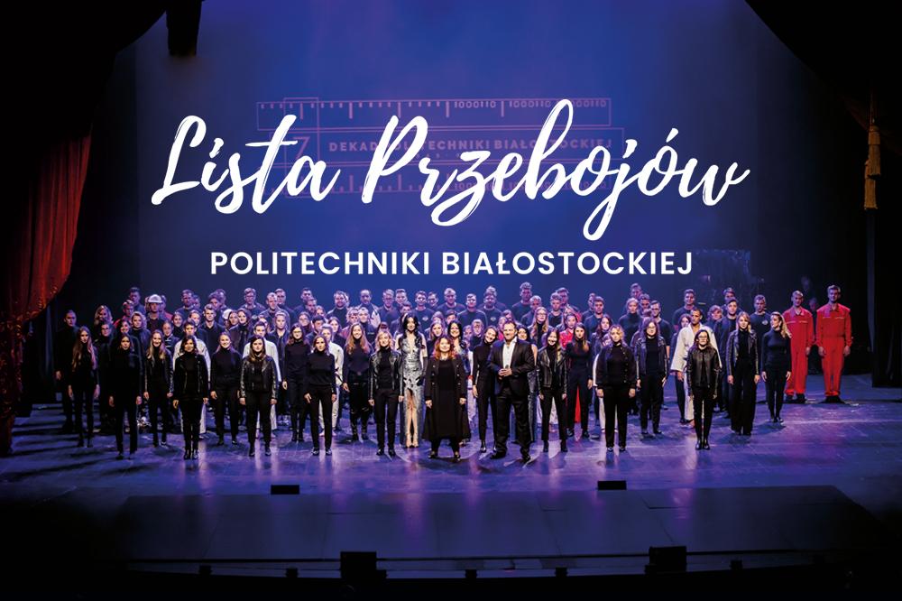 Na scenie Opery w Białymstoku stoi około 80 wykonawców, ktorzy wystąpili podczas widowiska Lista Przebojów Politechniki Białostockiej