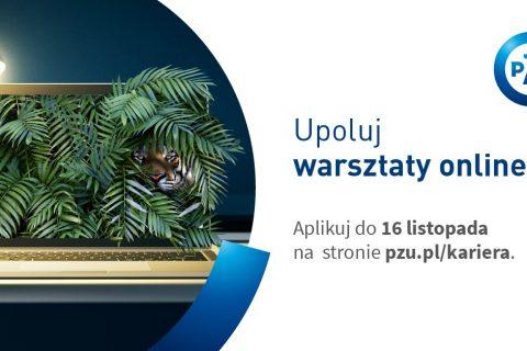 Baner podzielony na dwie części w pionie. Po lewej obrazek ukazujący otwarty laptop oświetlony lampką, z którego wystają liście paproci oraz głowa tygrysa. Z prawej na białym tle logo PZU, hasło warsztatów oraz termin i link do wydarzenia.