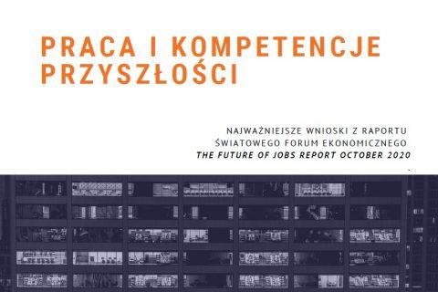 Na białym tle na górze pomarańczowym kolorem napis: Praca i kompetencje przyszłości a pod spodem seria czarno - białych obrazków przedstawiających wnętrza pomieszczeń biurowych.