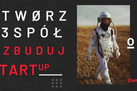 Na ciemnoszarym tle po prawej stronie zdjęcie kosmonauty spacerującego po łące.