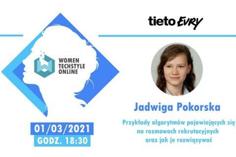 Zdjęcie twarzy młodej dziewczyny w okrągłej ramce i nazwa wydarzenia women techstyle online