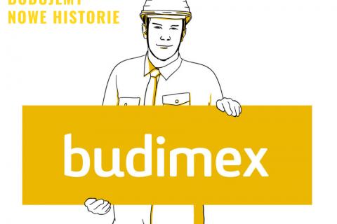 Na białym tle grafika mężczyzny inżyniera trzymającego żółtą planszę z napisem: budimex.