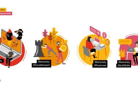 Na białym tle 4 kolorowe okrągłe plansze z ilustracjami graficznymi ludzi przy p[racy. Każda ilustracja odpowiada rodzajowi warsztatów na wydarzeniu.