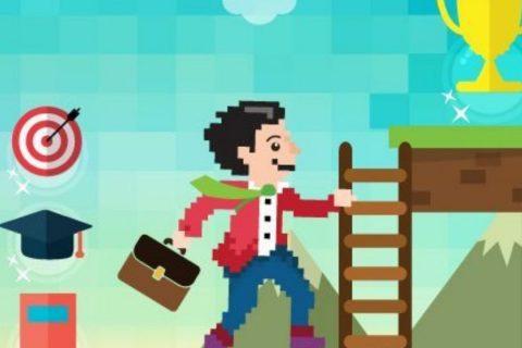 zrzut z gry komputerowej, ludzik wspinający się po drabinie