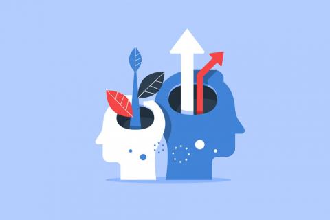 Na niebieskim tle grafika dwóch ludzkich głów z który wyrastają rośliny i strzałki w górę.