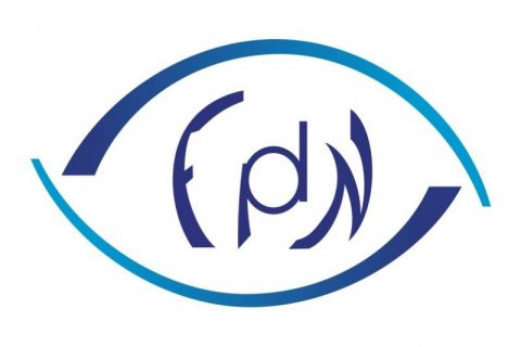 logotyp Fundacji Praca dla Niewidomych, w oko wpisane liter F p d N