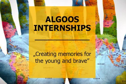 "Plakat promujący Algoos internships; cytat ""Creating memories for the young and brave"""