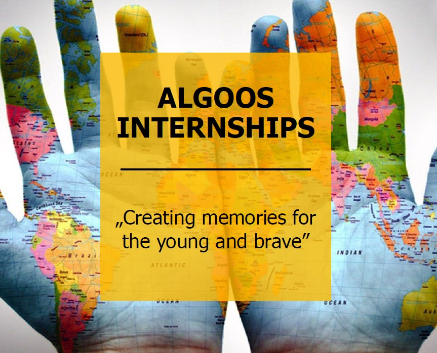 """Plakat promujący Algoos internships; cytat """"Creating memories for the young and brave"""""""