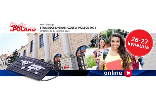 plakat promujący konferencję , po lewej zdjęcie dwóch uśmiechających się studentek, w tle zdjęcie uczelni