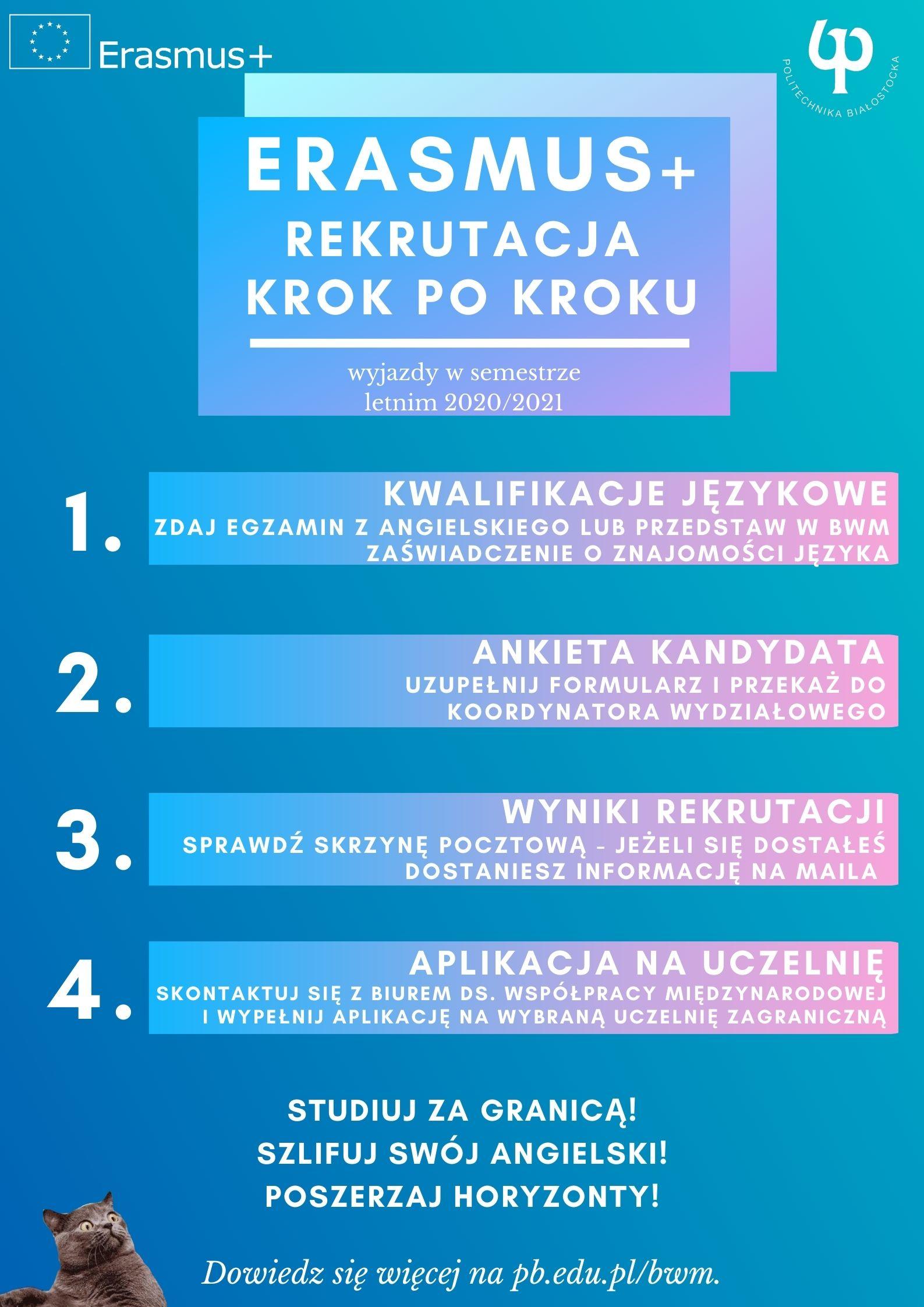 Kroki aplikacji na studia Erasmus+ w sem. letnim 2020/21