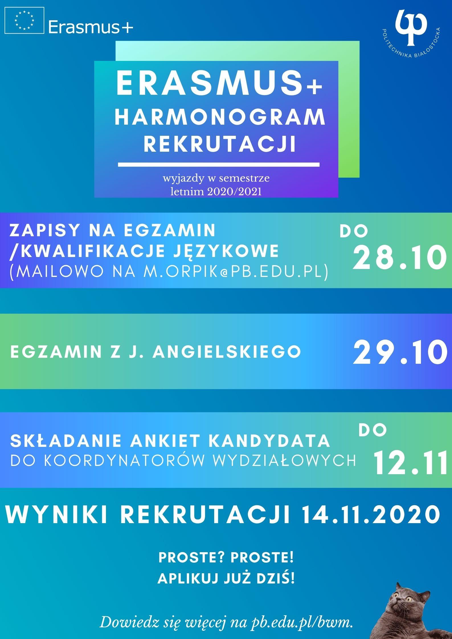 Harmonogram rekrutacji na studia Erasmus+ w sem. letnim 2020/21