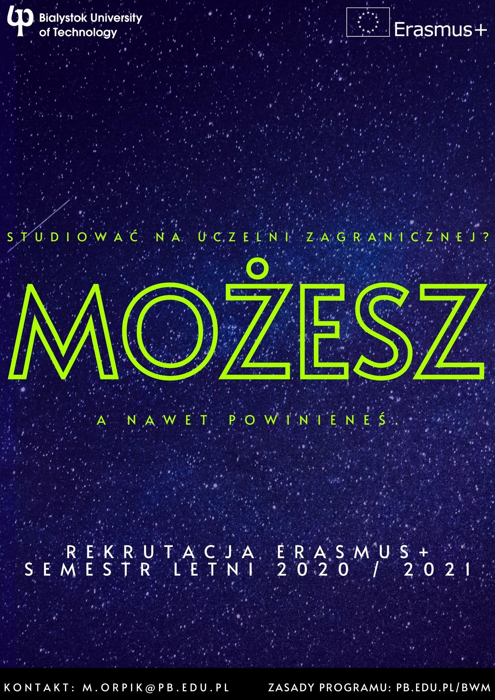 Plakat promocyjny rekrutacja Erasmus+ na studia w sem. letnim 2020/21