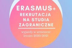 Plakat informacyjny Erasmus+ studia w sem. letnim 2020/21