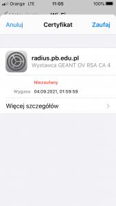 Okno systemu iOS - instalacja certyfikatu serwera