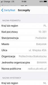 Okno system iOS - szczegóły certyfikatu