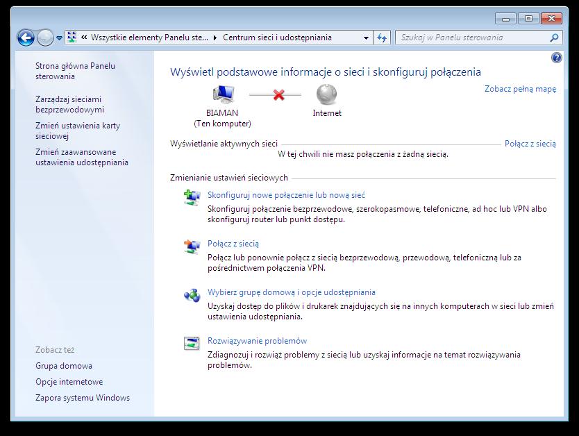 Okno systemu Microsoft Windows - Centrum Sieci i Udostępniania