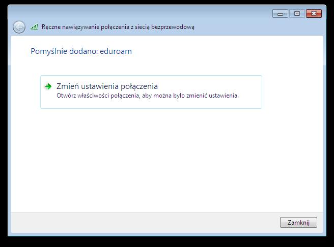Okno systemu Microsoft Windows - Ręczne nawiązywanie połączenia z siecią bezprzewodową