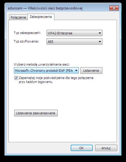 Okno systemu Microsoft Windows - eduroam - Właściwości sieci bezprzewodowej