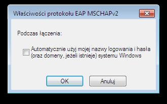 Okno systemu Microsoft Windows - Właściwości protokołu EAP MSCHAPv2