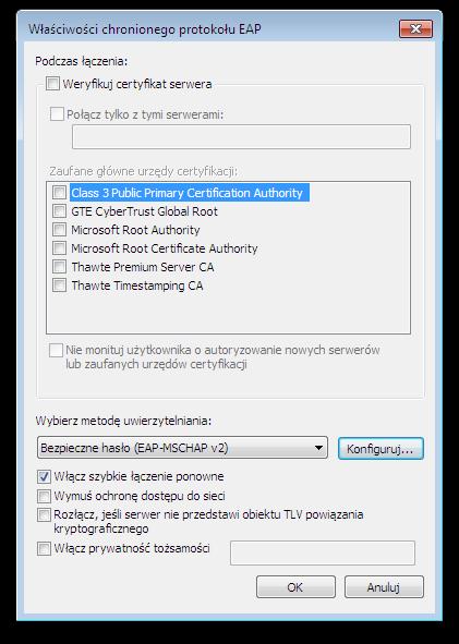 Okno systemu Microsoft Windows - Właściwości chronionego protokołu EAP