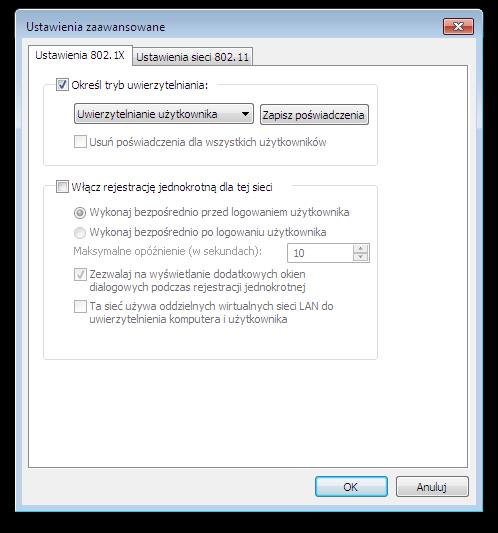 Okno systemu Microsoft Windows - Ustawienia zaawansowane