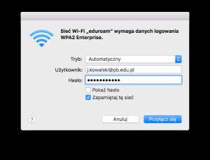 Okno systemu macOS - dane logowania