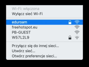 Okno systemu macOS - wybór sieci bezprzewodowej
