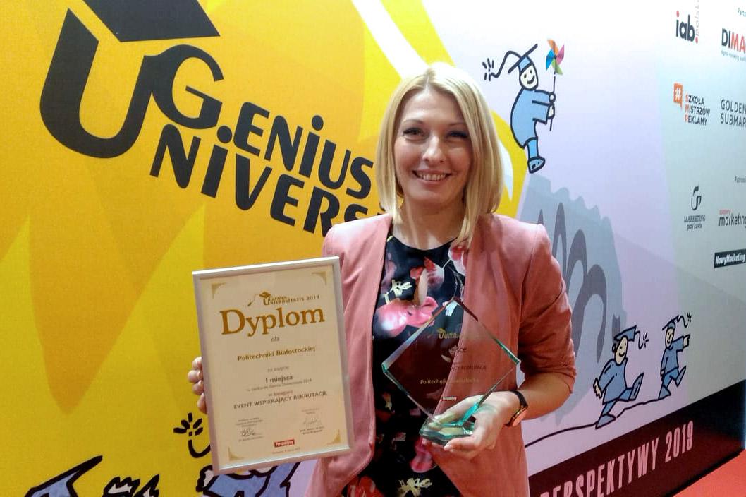 Katarzyna Myśliwiec podczas wręczenia nagród w konkursie Genius Universitatis 2019
