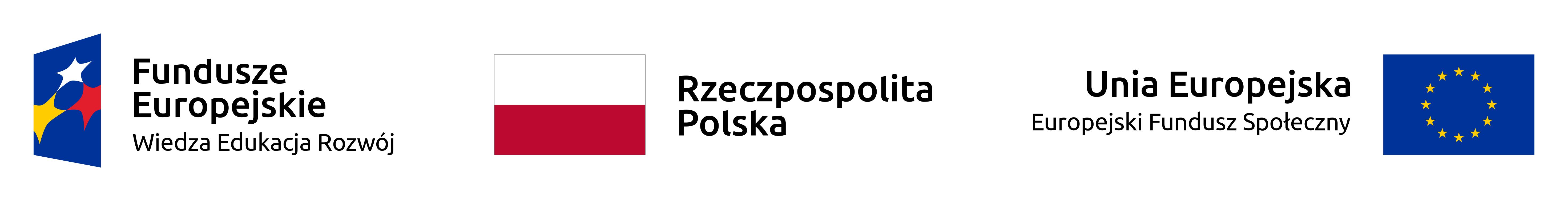 Z lewej strony logotyp Programu Operacyjnego Wiedza Edukacja Rozwój, z prawej strony logo Unii Europejskiej oraz napis Unia Europejska Europejski Funduszu Społeczny. Na środku biało-czerwona flaga Polski z napisem Rzeczypospolita Polska