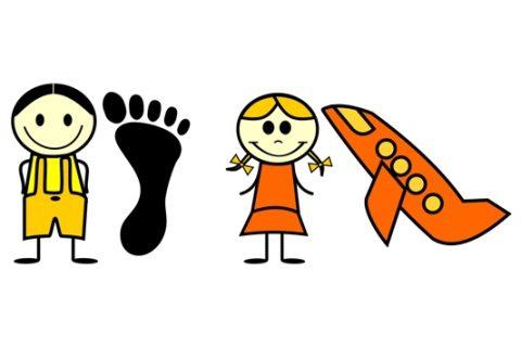 dzieci, stopa, samolot