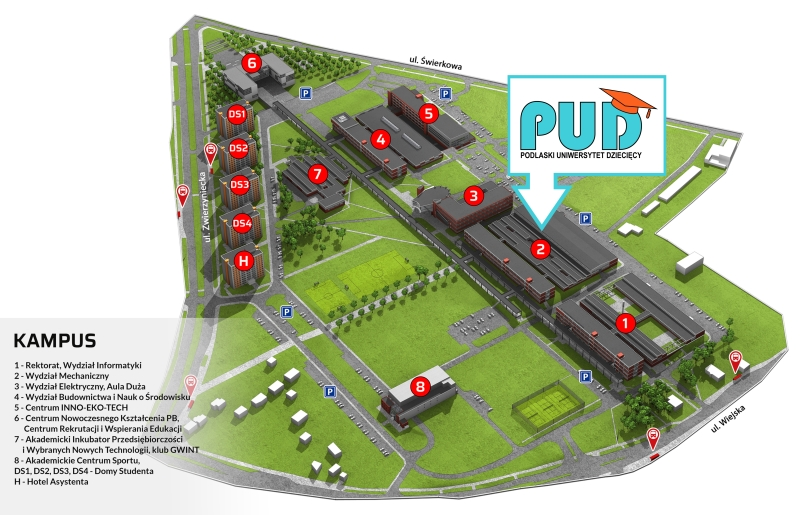 mapa miasteczka akademickiego PB