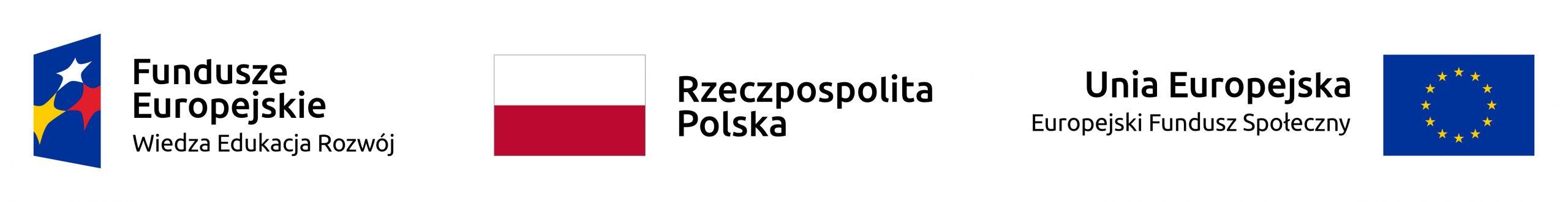 Z lewej strony logotyp Programu Operacyjnego Wiedza Edukacja Rozwój zawierający jedną gwiazdkę białą, jedną żółtą oraz jedną czerwoną na niebieskim tle, z prawej strony logo Unii Europejskiej, żółte gwiazdki ułożone w kółko na niebieskim tle oraz napis Unia Europejska Europejski Funduszu Społeczny. Na środku biało-czerwona flaga Polski z napisem Rzeczypospolita Polska