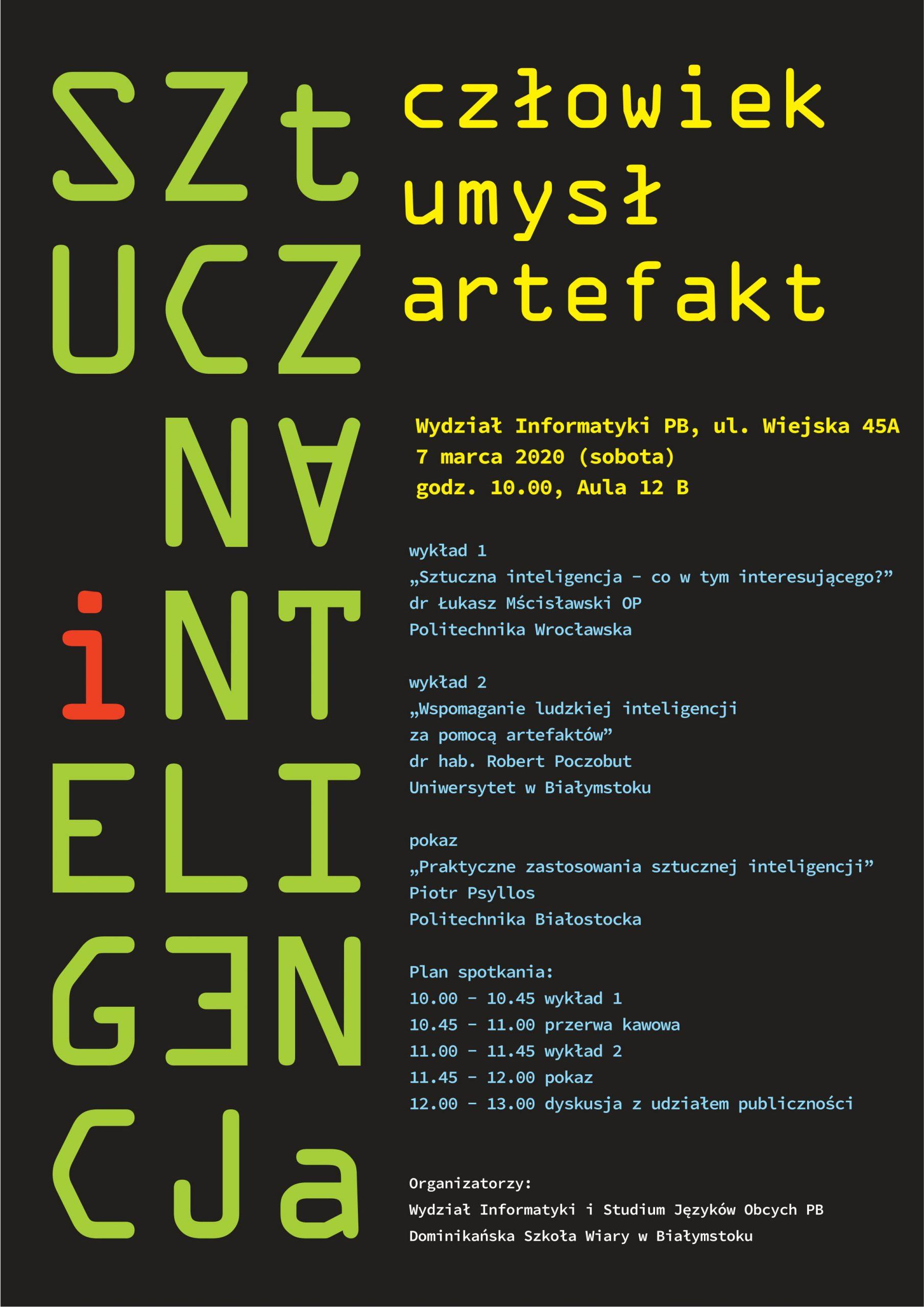 """Plakat informujący o spotkaniu popularno-naukowym """"Sztuczna inteligencja; człowiek, umysł, artefakt"""""""