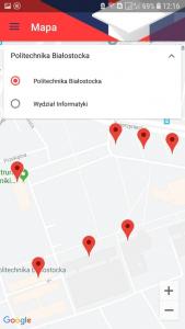 okno Mapy aplikacji Mobilny USOS PB