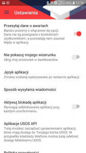 okno ustawienia aplikacji Mobilny USOS PB