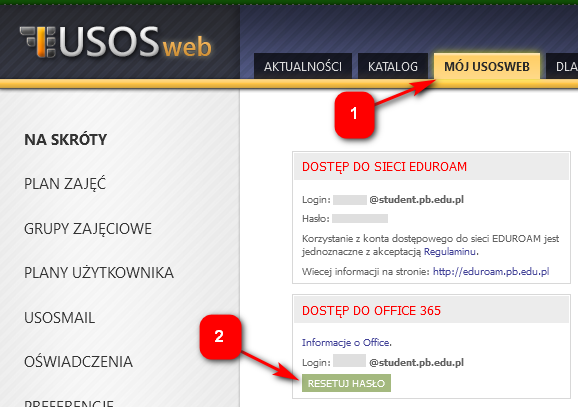 reset hasła w USOSweb