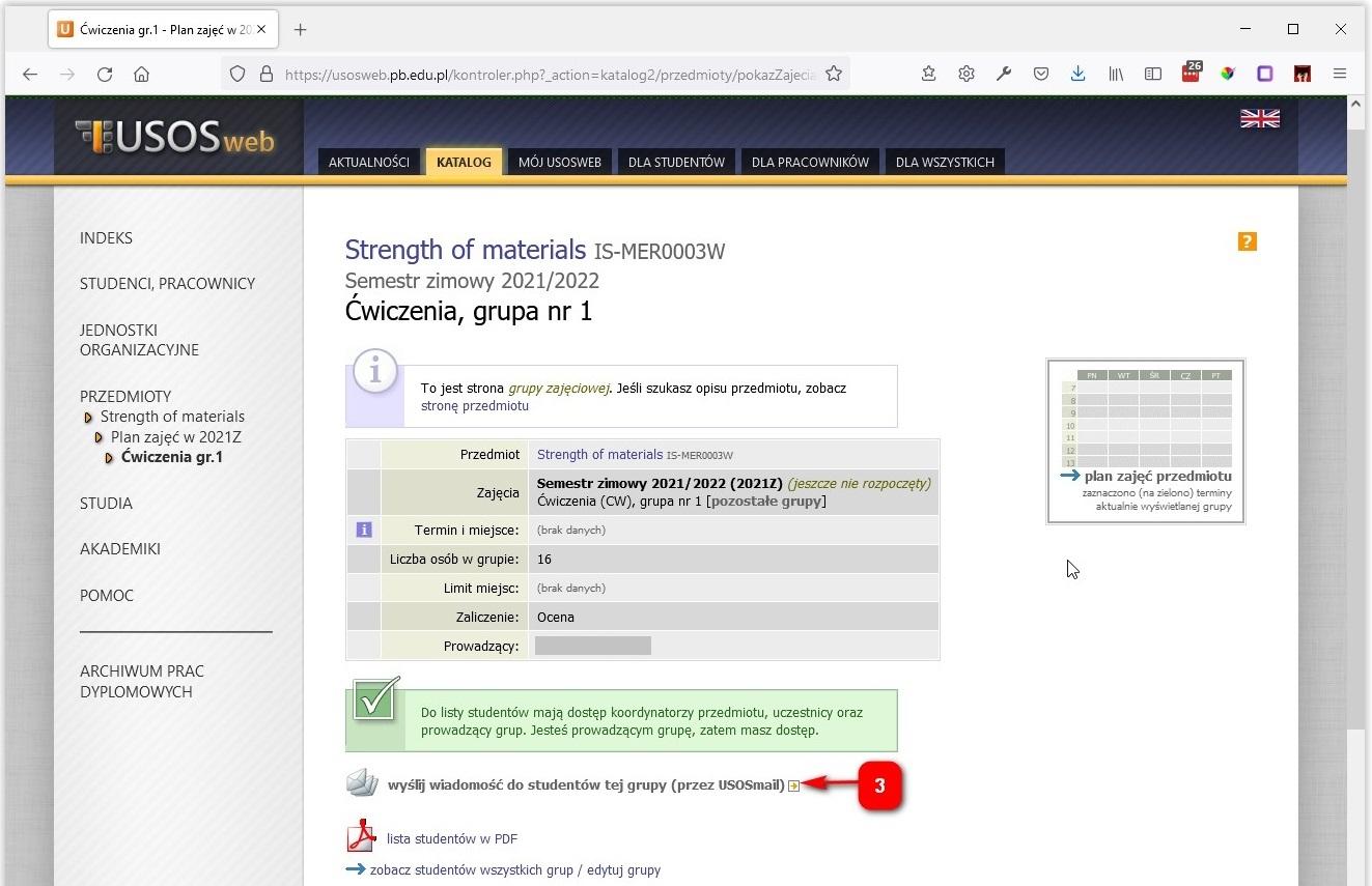 Wysyłanie wiadomości e-mail w systemie USOSweb z poziomu zajęć