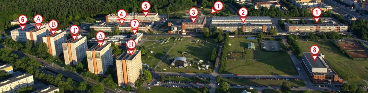 miasteczko akademickie Politechniki Białostockiej - zdjęcie z lotu ptaka