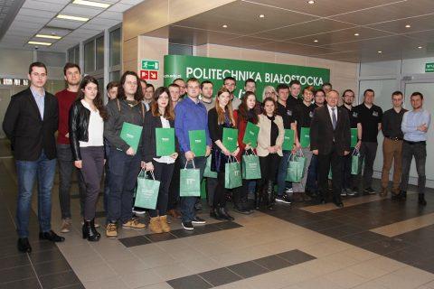 Rektor Politechniki Białostockiej prof. Lech Dzienis spotkał się ze zdolnymi studentami