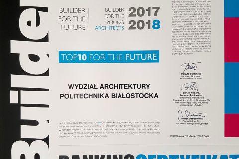 certyfikat dla Wydziału Architektury