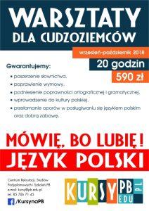 ulotka warsztaty dla cudzoziemców z języka polskiego
