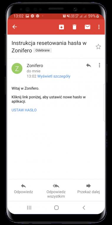 Logowanie do aplikacji Zonifero