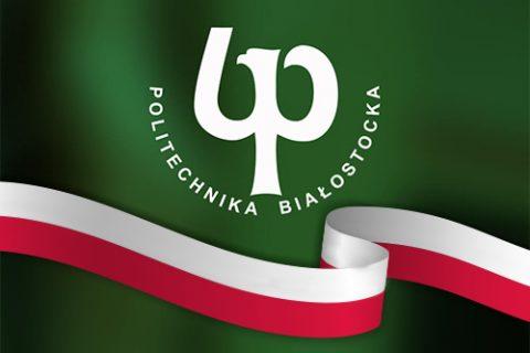 logo uczelni z flagą narodową