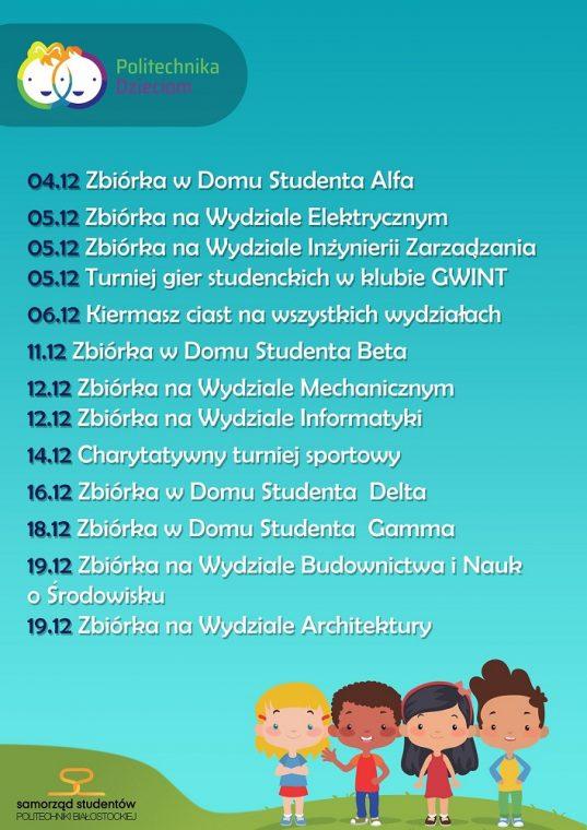 harmonogram akcji Politechnika Dzieciom