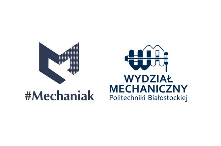 na białym tle umoeszczono po lewej logo białostockiego Mechaniaka, po prawej Wydziału Mechanicznego Politechniki Białostockiej