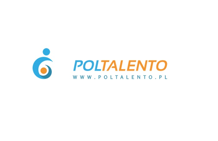 na białym tle napisy w kolorach błękitnym i pomarańczowym: POLTALENTO www.poltalento.pl