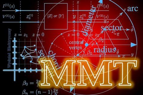 Grafika przedstawiająca wykresy i wzory matematyczne oraz napis MMT