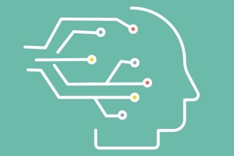 na zielonym tle zarys twarzy ludzkiej z profilu oraz schemat łaczy elektronicznych wchodzących w obszar mózgu