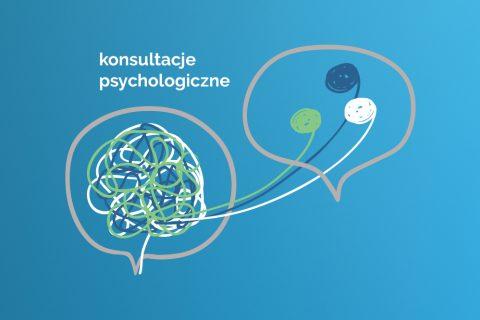 na niebieskim tle symbole graficzne rozmowy oraz napis konsultacje psychologiczne