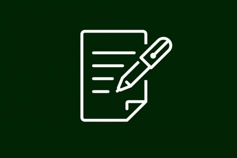 na ciemno zielonym tle białe kontury przedstawiające graficznie dokument i pióro